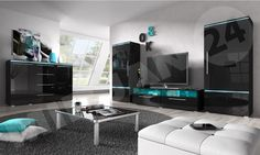 The black wall unit. LED lighting.Furniture for the brave. High gloss.