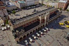 Sukiennice z lotu ptaka, Kraków, Polska