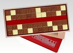 Construa a sua frase de Amor em quadradinhos de chocolate! Uma doce e única surpresa!