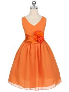 MK thinks this is the one for the girls @Nicole Asmus! It will look perfect for fall! Waiting on the go ahead and will let you know if we need to order! Orange V-Neckline Chiffon Flower Girl Dress