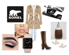 """""""Kick Up the Leaves With SOREL: nude style"""" by realhayleybug ❤ liked on Polyvore featuring SOREL, T-shirt & Jeans, Visvim, Glamorous, Burberry, Kate Spade and sorelstyle"""