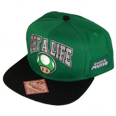 Super Mario Brothers Get A Life One Up Mushroom Green Snapback Hat -   brothers 8503240e74cc