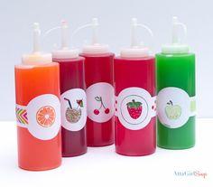 Atta Girl Says | Homemade Snow Cone Syrup Recipe In Custom Bottles | http://www.attagirlsays.com
