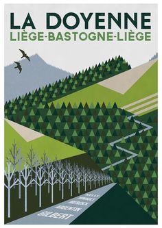 Velo Illustration 117: «Liège–Bastogne–Liège» by Steve Thomas. Das Radrennen Liège–Bastogne–Liège durch den wallonischen Teil Belgiens wurde erstmals 1892 gestartet und trägt daher den Ehrennamen La Doyenne (Die Älteste). Das traditionsreiche Eintagesrennen zählt zu den «Fünf Monumenten des Radsports» und gilt wegen seines sehr hügeligen Profils als einer der schwersten Klassiker.