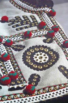 Close-up of the back of a traditional 'keptar', or sheepskin vest, in a popular style of Kolomyia city and neighbouring villages of Carpathian Western Ukraine (Entirely hand made, decorated, sewn, and assembled by Dave Melnychuk)