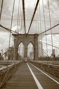 Fine Art Photography. Brooklyn Bridge - New York City, Sepia.