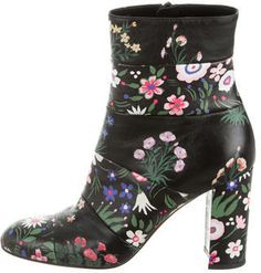 Valentino Floral Print Paneled Ankle Boots