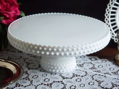 Hobnail Milk Glass Cake Stand - L. E. Smith Milk Glass Cake Stand - Wedding Cake…