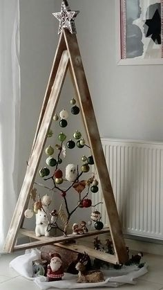 New Christmas Home Decor Inspiration Ideas In every Chris. , New Christmas Home Decor Inspiration Ideas In every Christmas, each family in every house requires to put a bit effort to make . Wooden Christmas Trees, Christmas Tree Design, Rustic Christmas, Christmas Tree Ornaments, Christmas Holidays, Funny Christmas, Unique Christmas Trees, Ladder Christmas Tree, Christmas Island