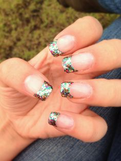 mermaid rainbow glitter nail tips. Acrylic nail tip design. Great for the summer!!