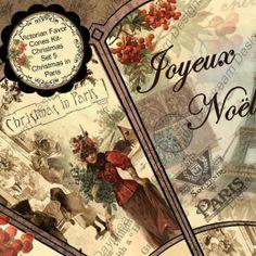 Christmas in Paris  Printable Victorian Favor by MyDigitalDaydream, $3.50