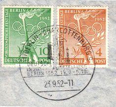 1952 Scott 9N81, 9N82, 4pf and 10pf Olympic Symbols Pre-Olympic Festival Day with Berlin-Charlottenburg, Deutsche Industrie Ausstellung Berlin 1952 illustrated postmark.
