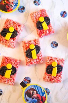 Disney Pixar's: The Incredibles 2 Rice Cereal Treats Recipe Incredibles Birthday Party, Mickey First Birthday, First Birthday Cupcakes, Birthday Party Treats, Superhero Birthday Party, 3rd Birthday Parties, Birthday Party Decorations, Party Themes, Party Ideas