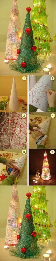 DIY String Christmas Trees diy christmas kids crafts how to tutorial christmas crafts christmas decorations christmas trees christmas craft kids christmas crafts teen crafts teen christmas crafts Diy Christmas Tree, Xmas Tree, Christmas Projects, Winter Christmas, All Things Christmas, Christmas Holidays, Christmas Decorations, Christmas Ornaments, Homemade Christmas