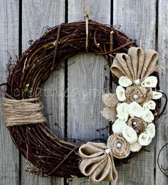 Rustic Wreath Lovely by TheCreativeGypsy on Etsy Burlap Projects, Burlap Crafts, Wreath Crafts, Diy Wreath, Burlap Wreath, Craft Projects, Diy Crafts, Burlap Lace, Burlap Flowers