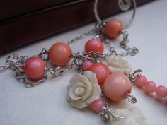 Bridal Pink Coral Necklace  Long delicate lariat by AKVjewelry, $55.00