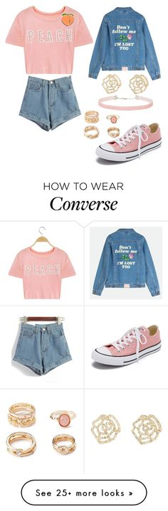 """Peachy"" by walkeralexzandreia on Polyvore featuring Charlotte Russe, Converse, Miss Selfridge, Forever 21 and PINTRILL"