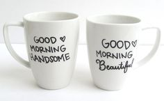 The Good Morning Hand Painted His and Hers Coffee by FruitfulFeet, $25.00