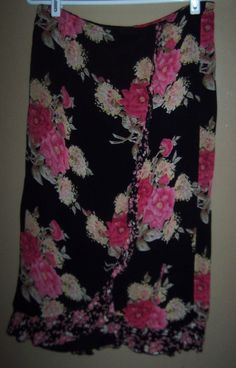 Requirements Women's Size 10 Floral Front Ruffle Mid Calf Skirt Elastic Back  #Requirements #MidCalf #Career