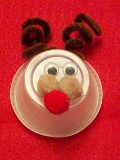 Soufflé cup reindeer candy holder craft. A little glue is all that is needed. Fill with kisses or M and voila, classroom treats.