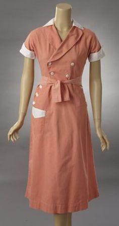 60s Waitress Dress Diner Uniform Pink White Mod Mini Bib