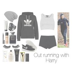 """Out running with Harry"" by romancereader4ever ❤ liked on Polyvore featuring adidas Originals, NIKE, Topshop, T By Alexander Wang, Bare Escentuals, Givenchy, eylure, Oribe, philosophy and j.f. lazartigue"