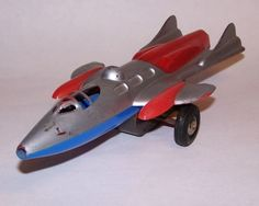 "Rocket Racer Space Toy 10"" Long Marx Friction Jet Fighter Airplane Vintage #Marx"
