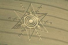 On August 13, 2014, this approximately 200-foot-diameter pattern emerged in wheat at Gussage St. Andrew near Sixpenny Handley, Dorset, England, southwest of Salisbury. Aerial image © 2014 by Lucy Pringle