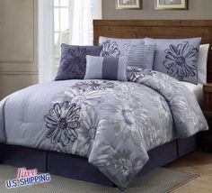 7 Piece Comforter Set Queen Shams Pillows Bed Skirt Purple Lavender Embroidery #Geneva