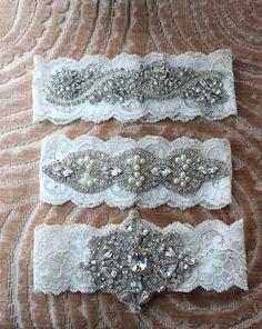 Couture Swarovski Crystal & Pearl Vintage Inspired Wedding Garters.