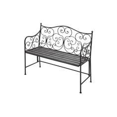 Studio 350 36-inch Iron and Poplar Wood Bench, Grey metal, Patio Furniture