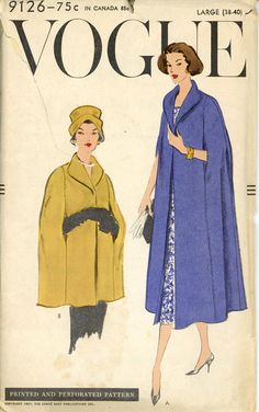 Vogue 9126 Misses 1950s Cape Pattern Evening Cape by CynicalGirl