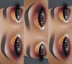 Fall Glitter Smokey Eye, Great for Thanksgiving events.