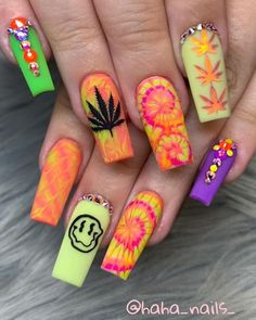 Hippie Nails, Goth Nails, Edgy Nails, Grunge Nails, Swag Nails, Summer Acrylic Nails, Best Acrylic Nails, Acrylic Nail Designs, Acrylic Colors