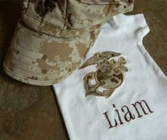 Monogrammed USMC Onesie with Camo EGA. Desert or Woodland Camouflage. on Etsy, $15.95