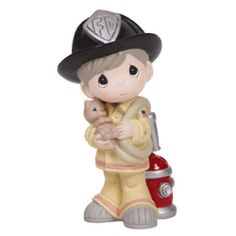 ※ New PRECIOUS MOMENTS Figurine FIREFIGHTER FIREMAN Boy Staute RESCUE Pet Cat