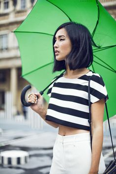 black and white cropped top, high-waist pants