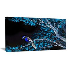 DesignArt Beautiful Bird on Flowering Branch Graphic Art on Wrapped Canvas Size: