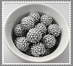 Gumball beads, gumball beads product, gumball beads supplies, gumball beads etsy, gumball beads DIY, gumball beads necklace supplies, gumball bead jewelry supplies, Bubblegum Beads Silver Rhinestone 20mm Chunky by Urbancitysupplies