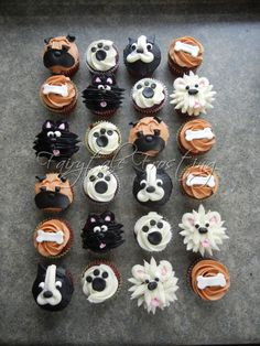 Dog Cupcakes for my 31 Random Acts of Kindness. I gave these to the folks at our vet and the volunteers at the Humane Society. Puppy Cupcakes, Puppy Cake, Animal Cupcakes, Cute Cupcakes, Themed Cupcakes, Puppy Birthday Parties, Puppy Party, Dog Birthday, Birthday Ideas