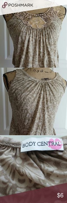 Crochet neck Tank Was a favorite of mine.  Banded stretch bottom and super cute swirl print. Body Central Tops Tank Tops