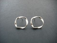 twisted circle stud earrings  matte white gold by Lana0Crystal, $18.00
