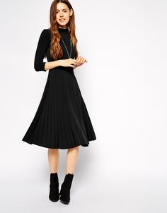 ASOS Pleated Skater Dress with High Neck and 3/4 sleeves
