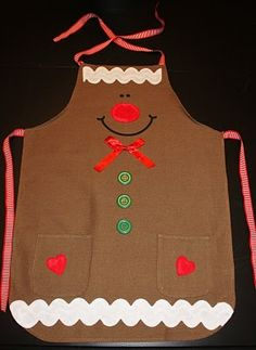 I don& have the tutorial for this but it would be kind of easy to make. Je n& pas les instruction pour faire ceci, mais ça semble assez. Christmas Aprons, Christmas Sewing, Christmas Projects, Holiday Crafts, Christmas Crafts, Gingerbread Crafts, Christmas Gingerbread, Childrens Aprons, Aprons For Men