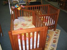 Corner cot for twins - amazing space saver...Omgosh I want this