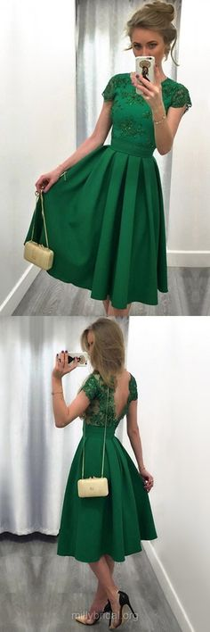 Green Homecoming Dresses,Casual A-line Party Gowns,Scoop Neck Satin Cocktail Club Dress,Tulle Knee-length Appliques Lace Backless Formal Dresses,Short Sleeve Prom Dresses