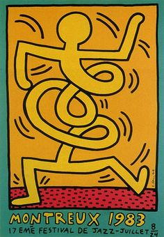 Keith Haring - Montreux Jazz Festival, 1983 Keith Haring Prints, Keith Haring Art, Keith Haring Poster, Festival Jazz, Montreux Jazz Festival, Jm Basquiat, Wall Collage, Contemporary Artists, Graffiti Art