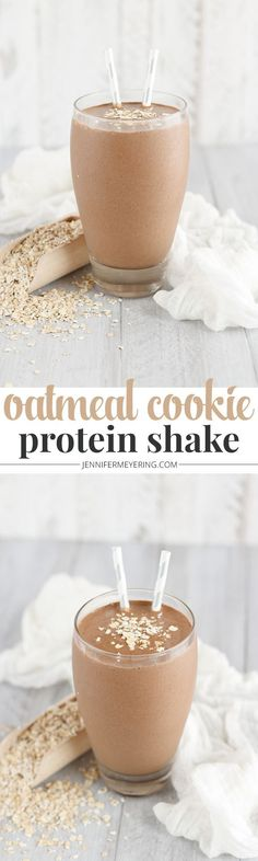 Protein shake smoothie - Oatmeal Cookie Protein Shake JenniferMeyering com Protein Smoothies, Protein Snacks, Pancakes Protein, Healthy Protein, Smoothie Drinks, Smoothie Recipes, Fruit Smoothies, Protein Superfood, Protein Power