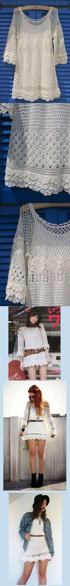 Crochet Dress … In the pattern … Hand Delicacy crochet dress mesh - Do it Yourself Clothes Crochet Lace Dress, Crochet Tunic, Irish Crochet, Crochet Clothes, Crochet Tops, Crochet Bikini, Mode Crochet, Crochet Woman, Beautiful Crochet