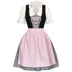 Dirndl 3 tlg.Trachtenkleid sw/ws kariert mit rosa Schürze Neu OVP 32 bis 46 Skater Skirt, Skirts, Fashion, Pink, Oktoberfest, Clothing, Gowns, Moda, Skirt